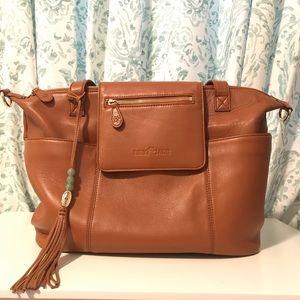 Lily Jade Diaper Bag Madeline in Camel & Gold